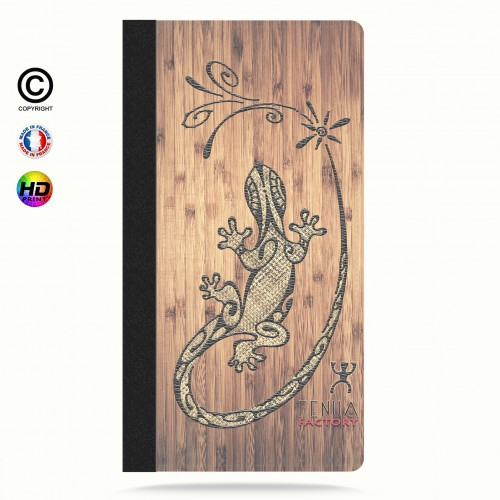 Etui Porte cartes galaxy S4 tribal bamboo gecko