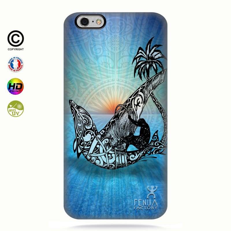 coque iphone 6+/6s+Sunset Dolphin sailboard