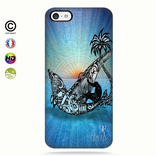coque iphone 5C Sunset Dolphin sailboard