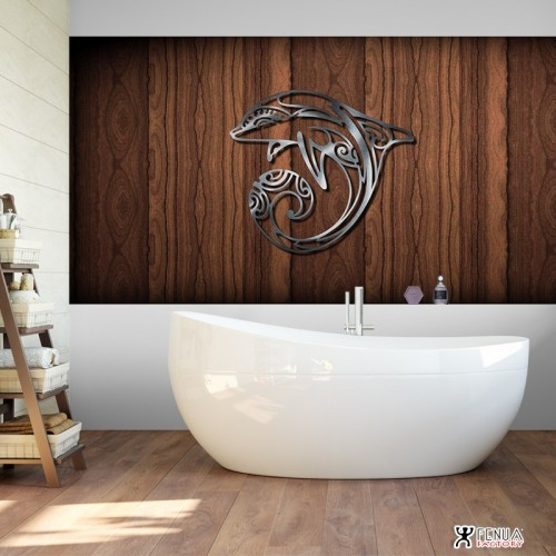 """S"" DECORATION MURALE EN METAL "" DAUPHIN "" INOX"