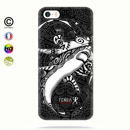 coque iphone 5-5s-5se b&w shark surfing