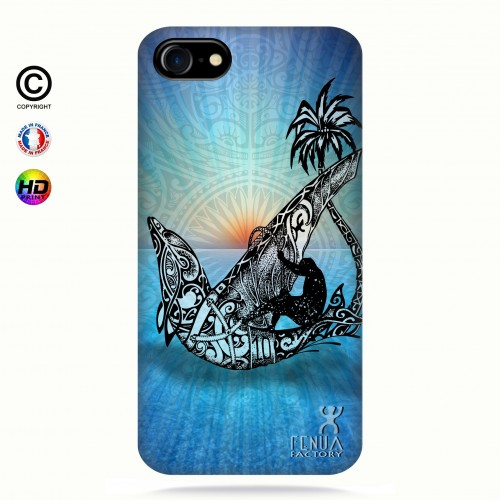 coque iphone 8 Sunset Dolphin sailboard