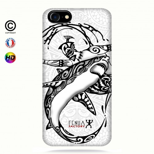 coque iphone 8 b&w shark surfing