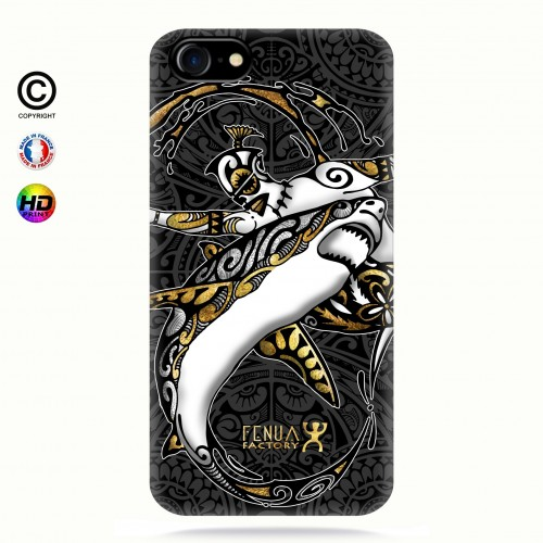 coque iphone 7 gold shark surfing