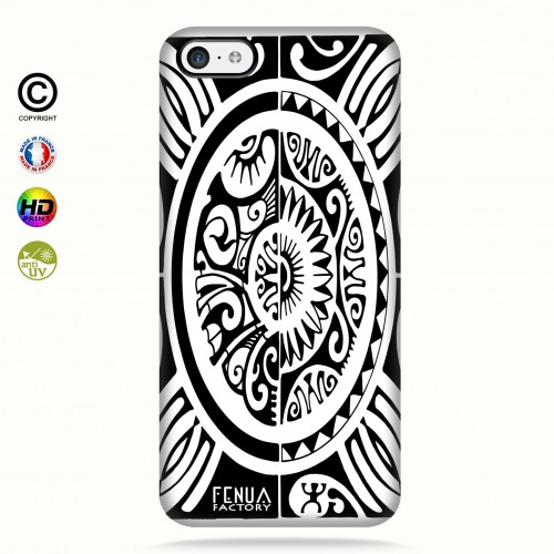 coque iphone 5c tribal cube b&w