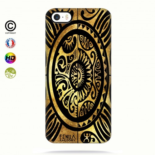 coque iphone 5-5s-5se tribal cube gold +