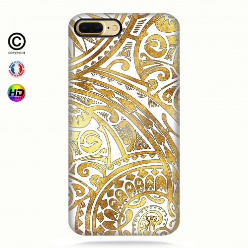 coque iphone 8+ tribal frieze gold + quart