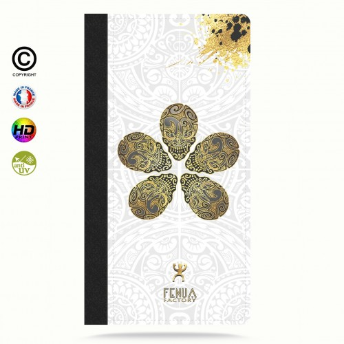 Coque iphone 8 Gold Skull flowers