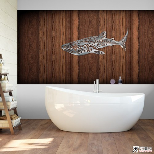 """S"" DECORATION MURALE EN METAL "" REQUIN BALEINE "" INOX"