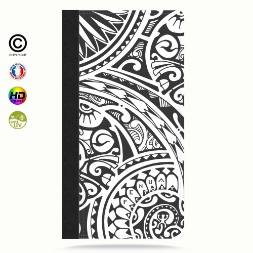 Etui Porte cartes iphone X tribal frieze b&w quart