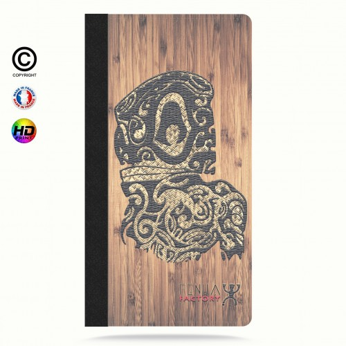 Etui Porte cartes iphone X tribal bamboo tiki
