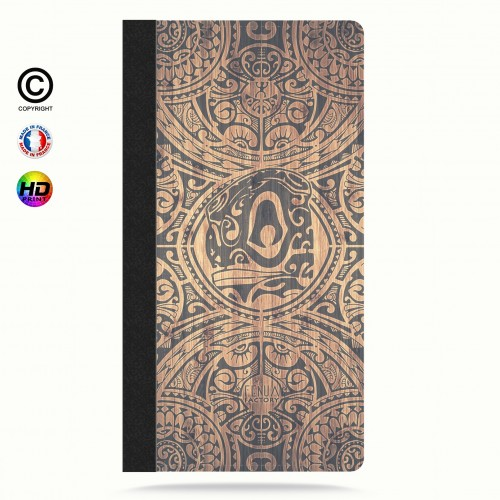 Etui Porte cartes iphone X tribal tiki bamboo