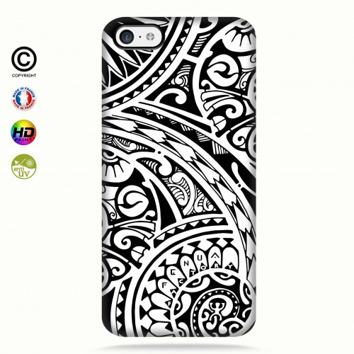 coque iphone 5c tribal frieze b&w quart