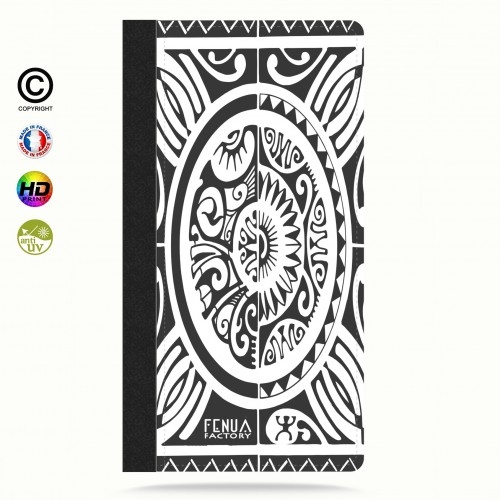 Etui Porte cartes iphone X tribal cube b&w