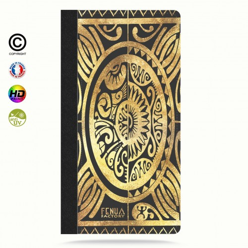 Etui Porte cartes iphone X tribal cube gold