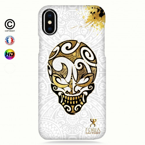 coque iphone X Gold Skulls