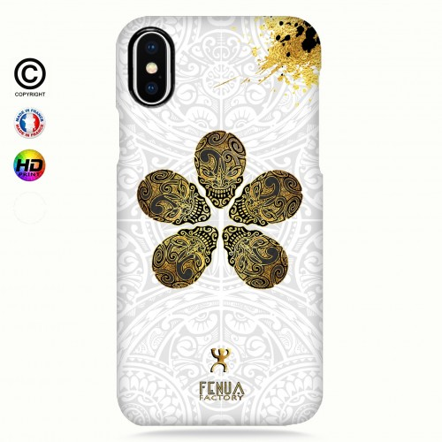 coque iphone X Gold Skull flowers