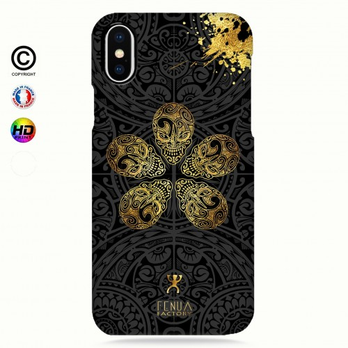 coque iphone 8+ Gold Skull flowers