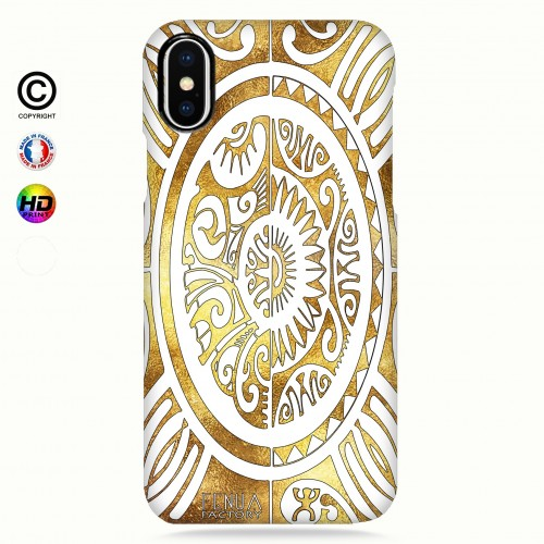 coque iphone X tribal cube gold +