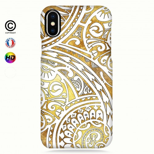coque iphone X tribal frieze gold +