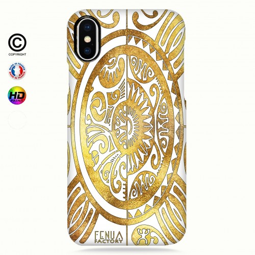 coque iphone X tribal cube gold