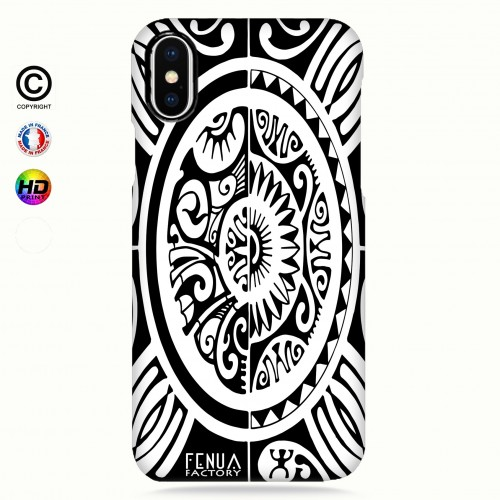 coque iphone X tribal cube b&w
