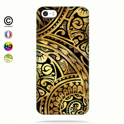 coque iphone 5-5s-5se tribal frieze gold +