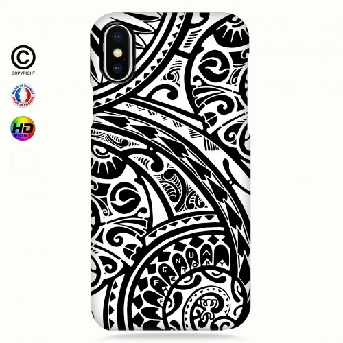 coque iphone X tribal frieze b&w quart