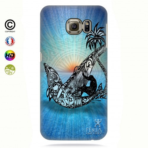 coque galaxy s6 edge Sunset Dolphin sailboard
